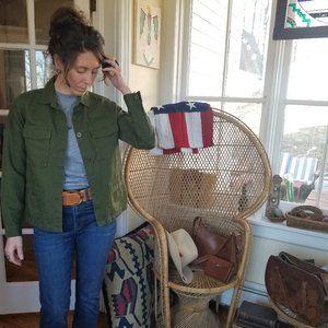 J. Crew - Linen Blend Jacket in Olive Green